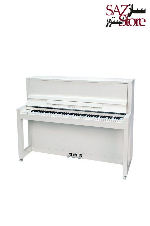 پیانو آکوستیک FEURICH 115 – PREMIERE White Polished - Chrome